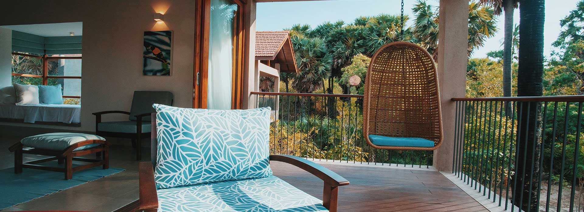 Private Deck of a Double Room at Palmyrah House Mannar